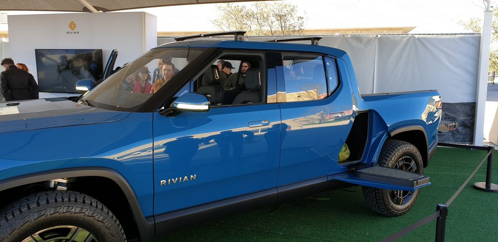 Rivian pick-up truck op the Fully Charged Live show in Austin, Texas.
